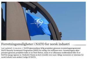 NATO prosjekter for omlag 700 millioner Euro